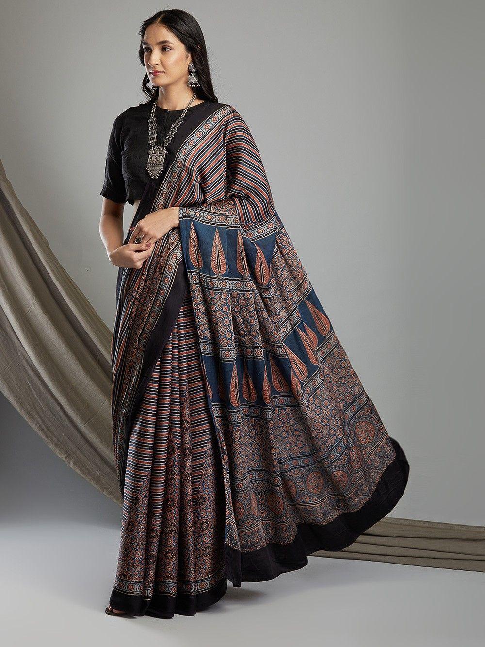 Ajrakh Print in Modal Silk