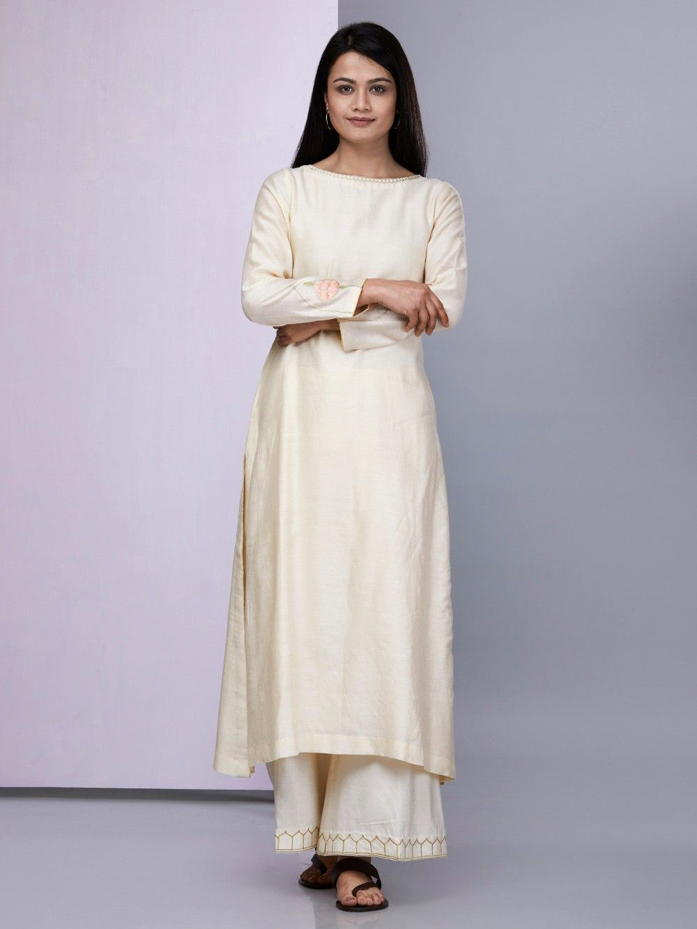 08190bec7581 Buy Ivory Embroidered Chanderi Silk Kurta with Cotton Silk Palazzo ...