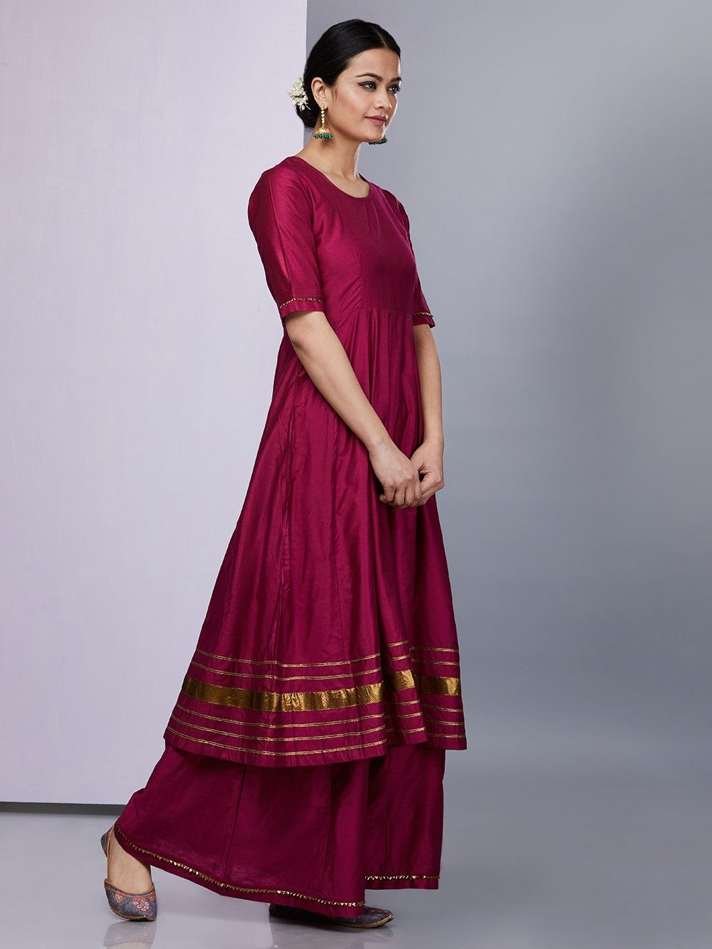 Buy Maroon Silk Anarkali Suit Set Of 3 Online At Theloom