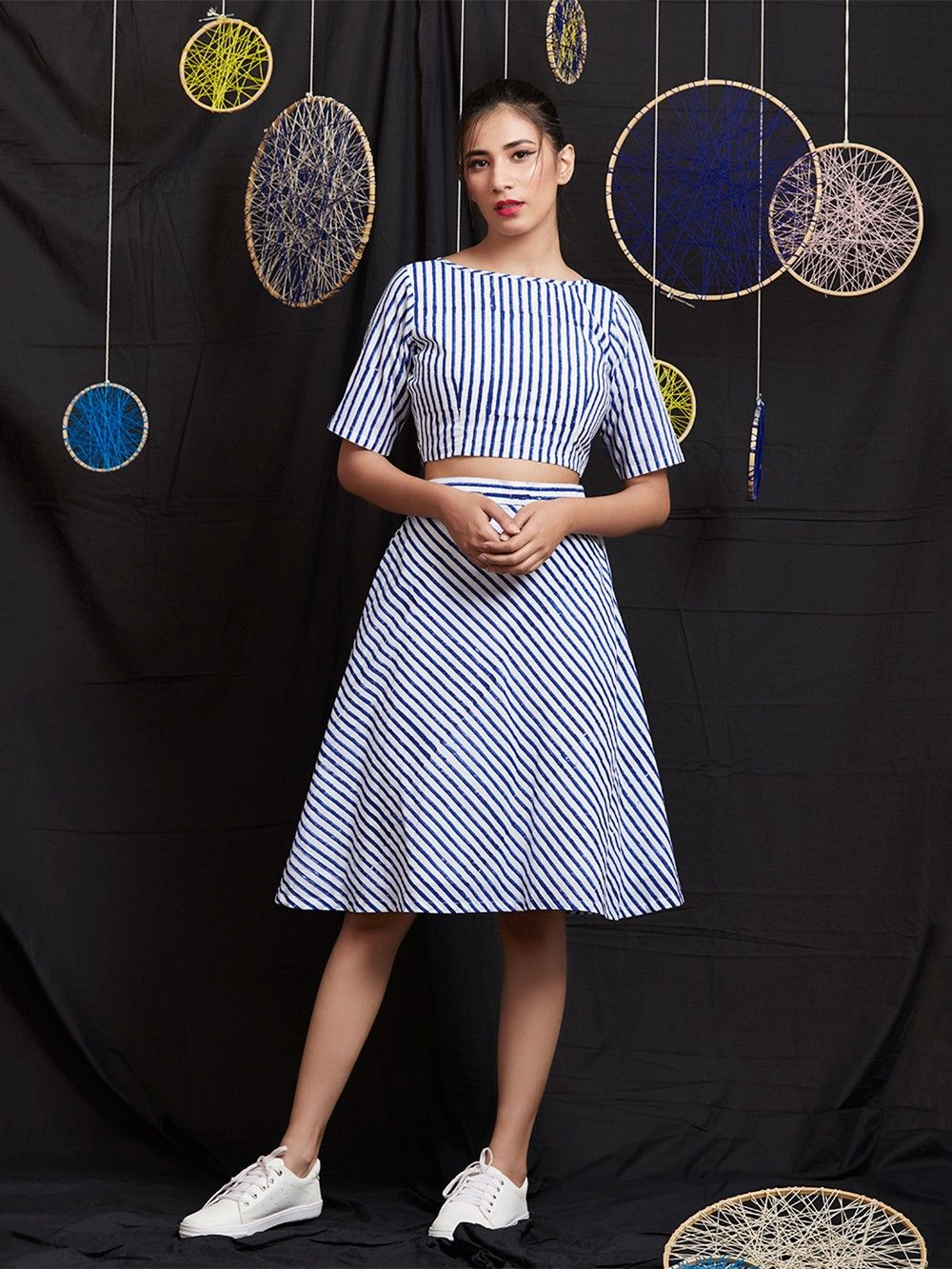 9e2b99abda4 Buy Royal Blue Hand Block Printed Cotton Mulmul Crop Top with Skirt ...