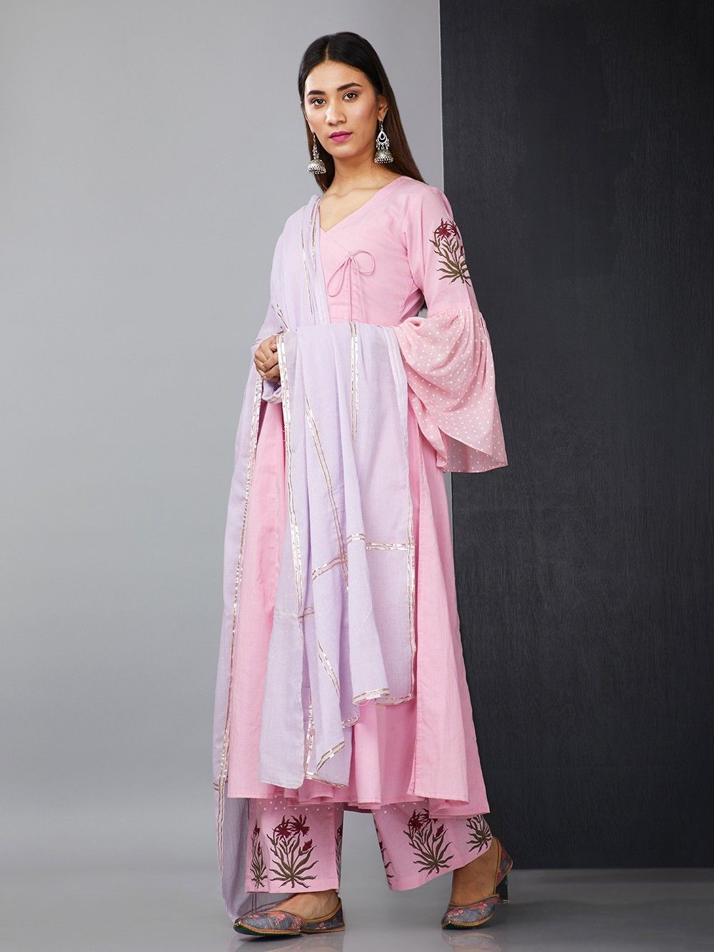 ffd11740f0 Pink Cotton Angrakha Suit with Purple Mulmul Gota Dupatta - Set of 3. Hover  to zoom