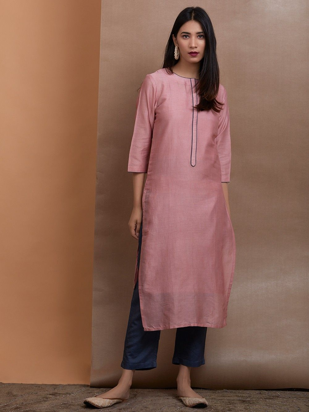 c1aaa31cd781 Buy Old Rose Chanderi Silk Kurta with Slip and Navy Blue Cotton Silk ...