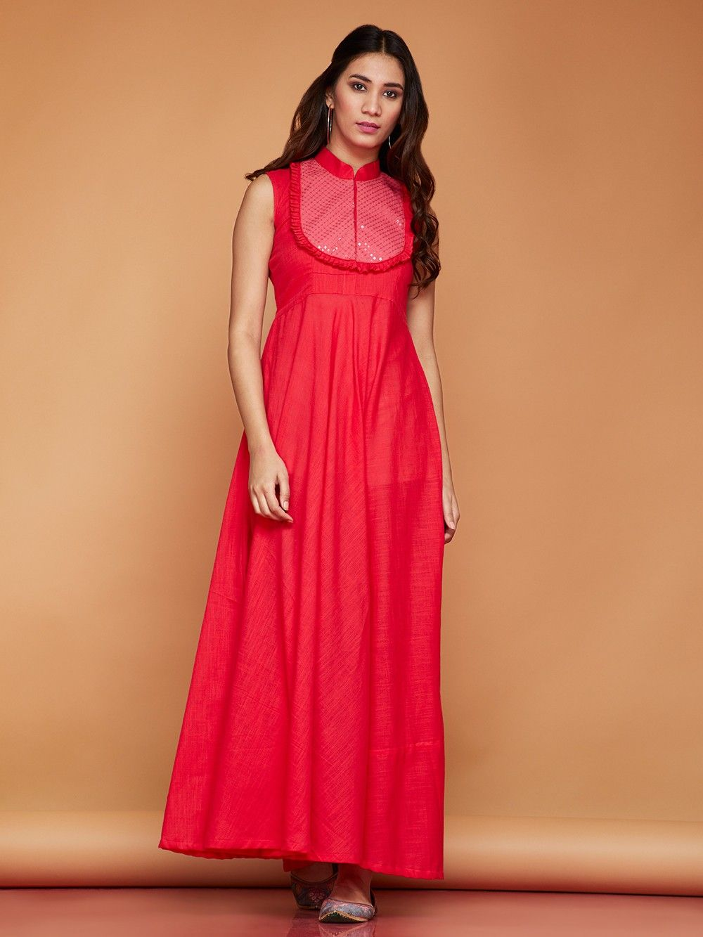 1958db9533 Buy Pink Cotton Flared Maxi Dress online at Theloom