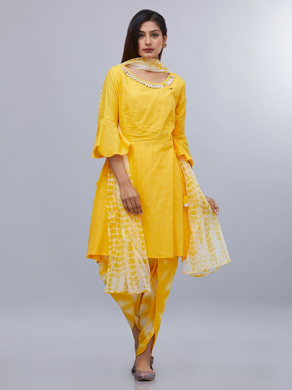 ecb1352cf0b1 Buy Yellow White Tie and Dye Cotton Dupatta online at Theloom