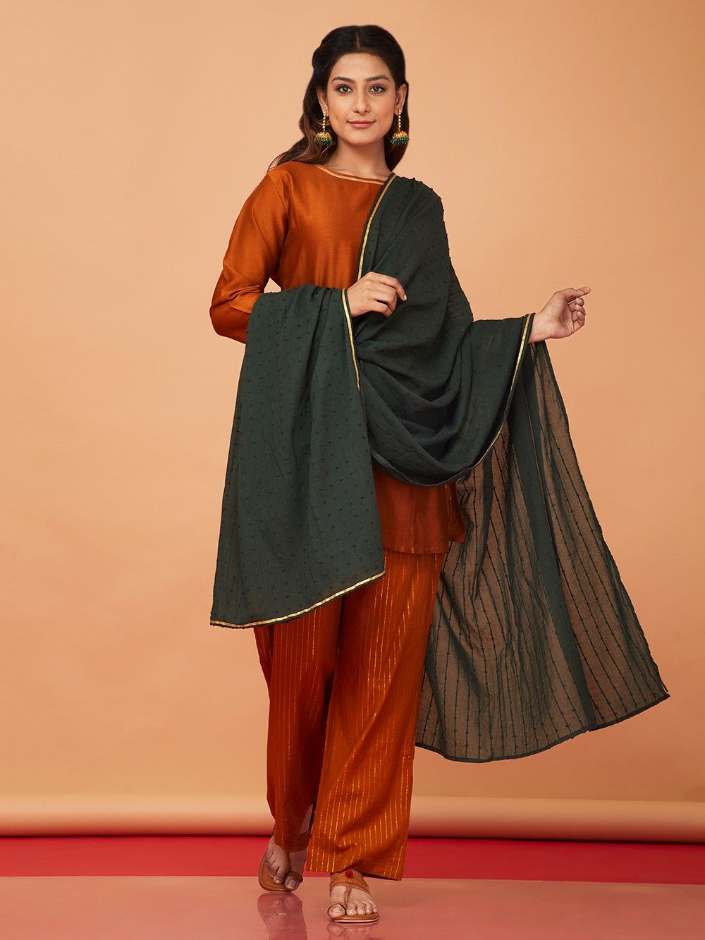 519c3a40f3 Buy Orange Green Chanderi Cotton Suit - Set of 3 online at Theloom