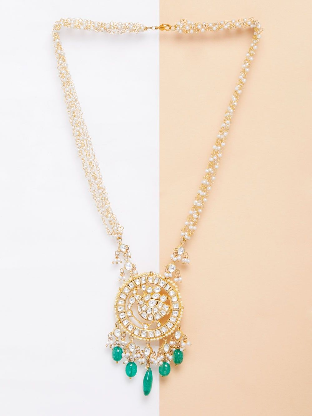Buy green onyx kundan gold plated pendant necklace online at theloom green onyx kundan gold plated pendant necklace aloadofball Choice Image