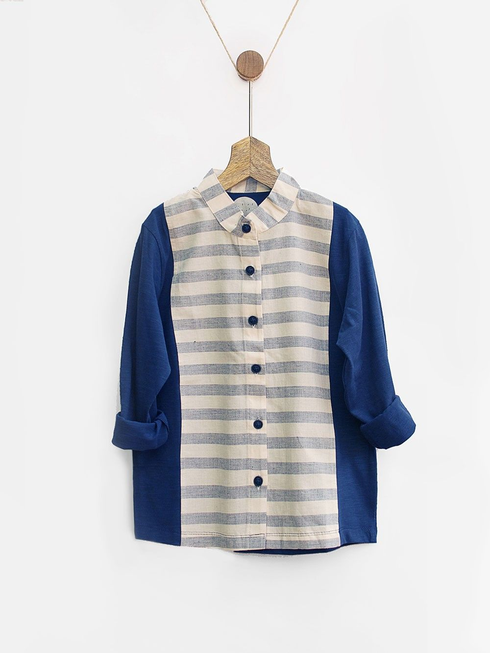 2f2800d9bf Buy Off White Blue Cotton Striped Boys Shirt online at Theloom