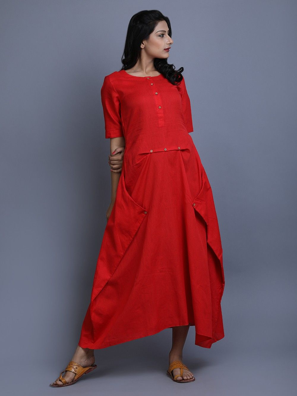 260fbf5dc7 Buy Red Cotton Linen Dress online at Theloom