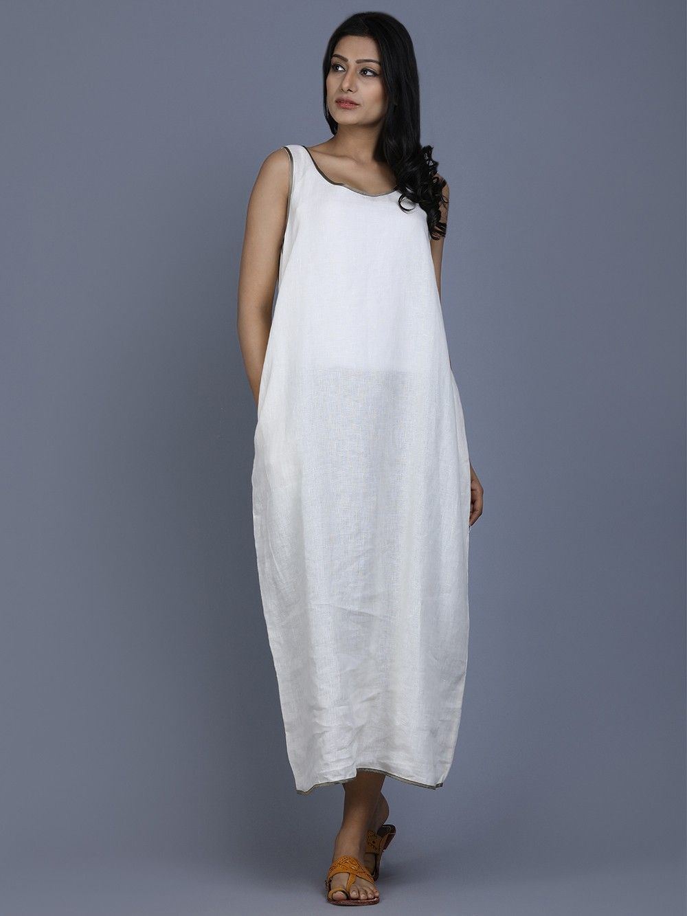1b3ece7b6b0 Buy Off White Linen Classic Dress online at Theloom