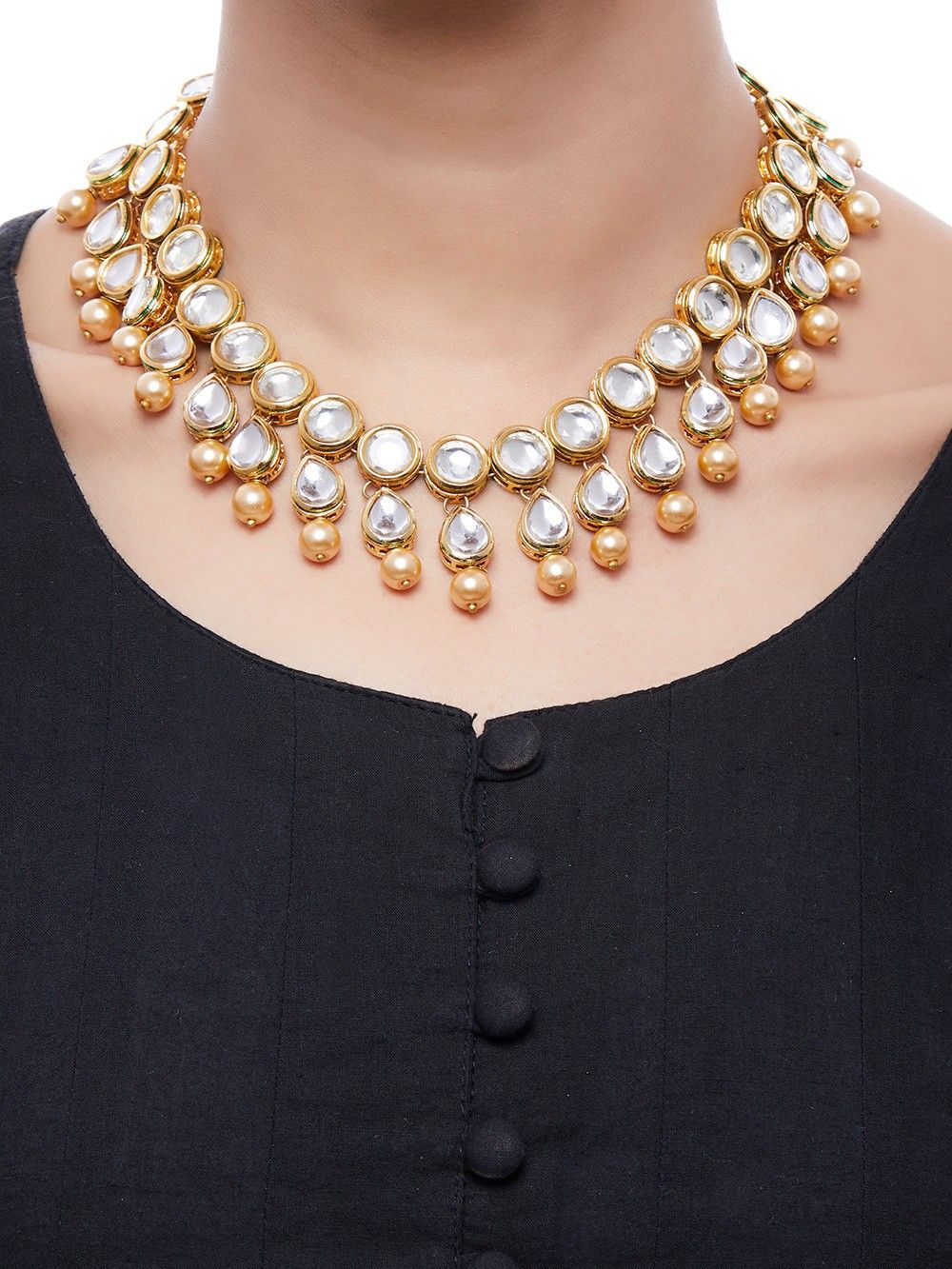 buy pearl gold plated kundan choker necklace online at theloom. Black Bedroom Furniture Sets. Home Design Ideas