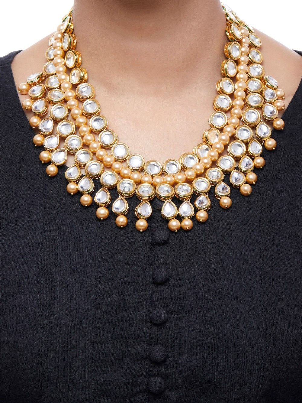 Buy Pearl Gold Plated Kundan Necklace Online At Theloom
