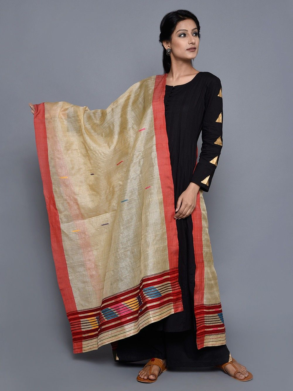 733adc5830 Buy Golden Red Tussar Silk Dupatta online at Theloom