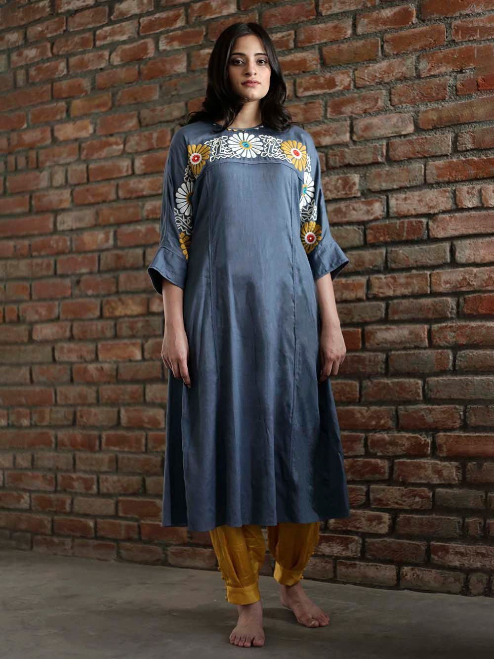 72a0b761bfa Buy Blue Hand Embroidered Cotton Kurta online at Theloom