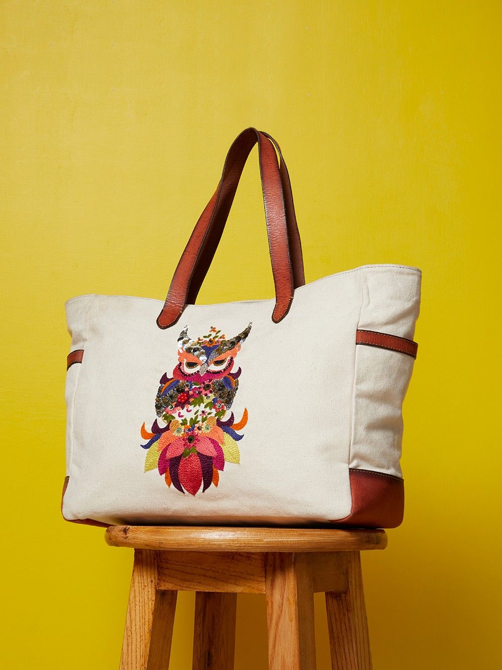 65d92dd39db Buy White Hand Embroidered Owl Canvas Tote Bag online at Theloom