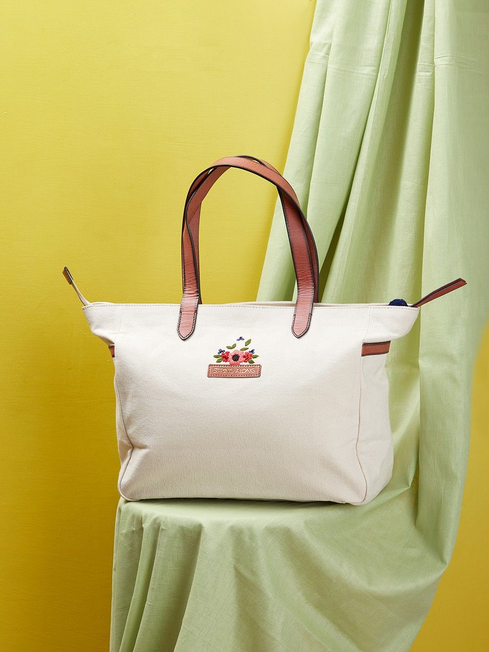 55a7adb29fc Buy Off White Hand Embroidered Owl Canvas Tote Bag online at Theloom