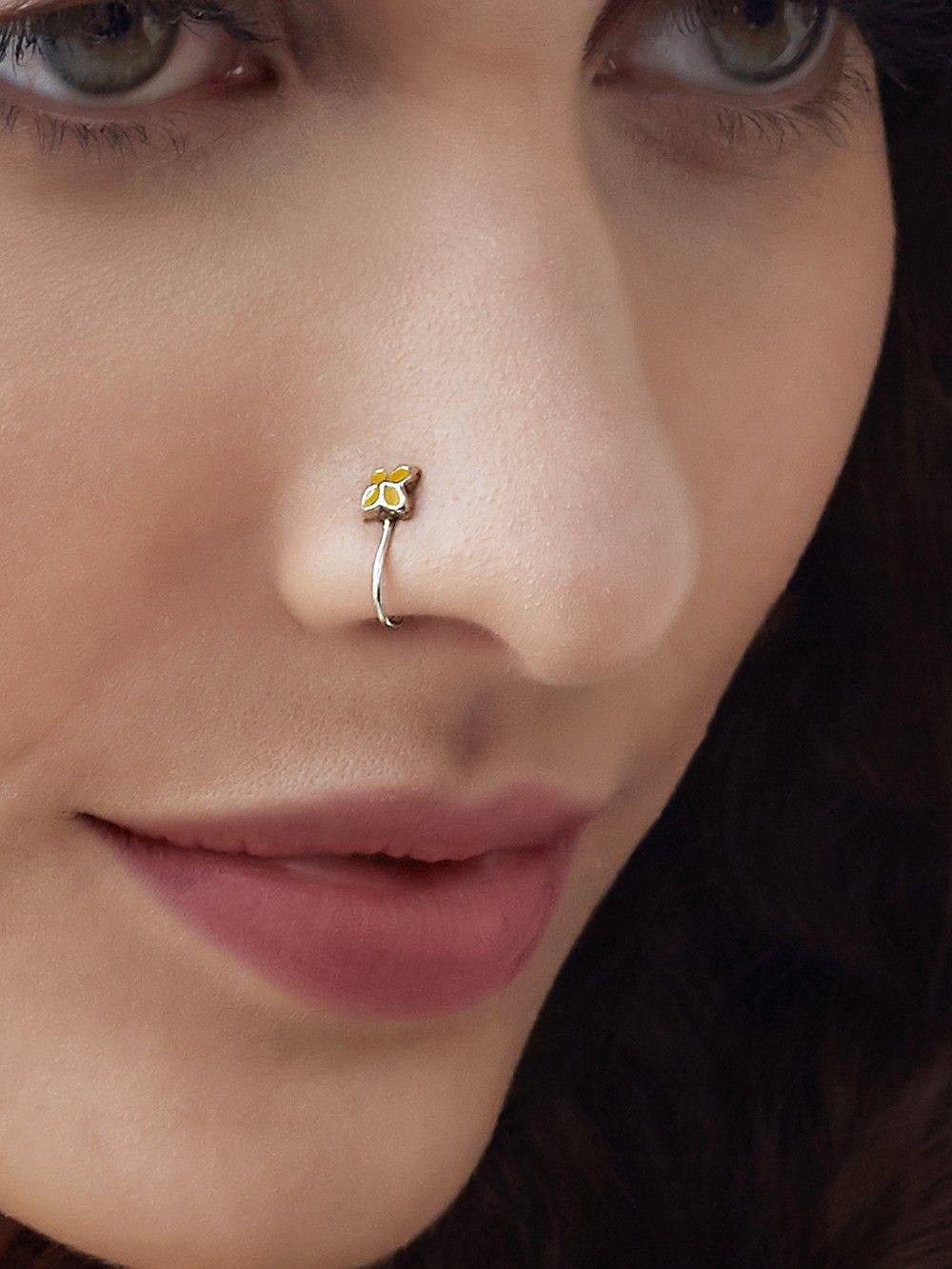 Buy Silver Yellow Minimal Enamelled Nose Ring Online At Theloom