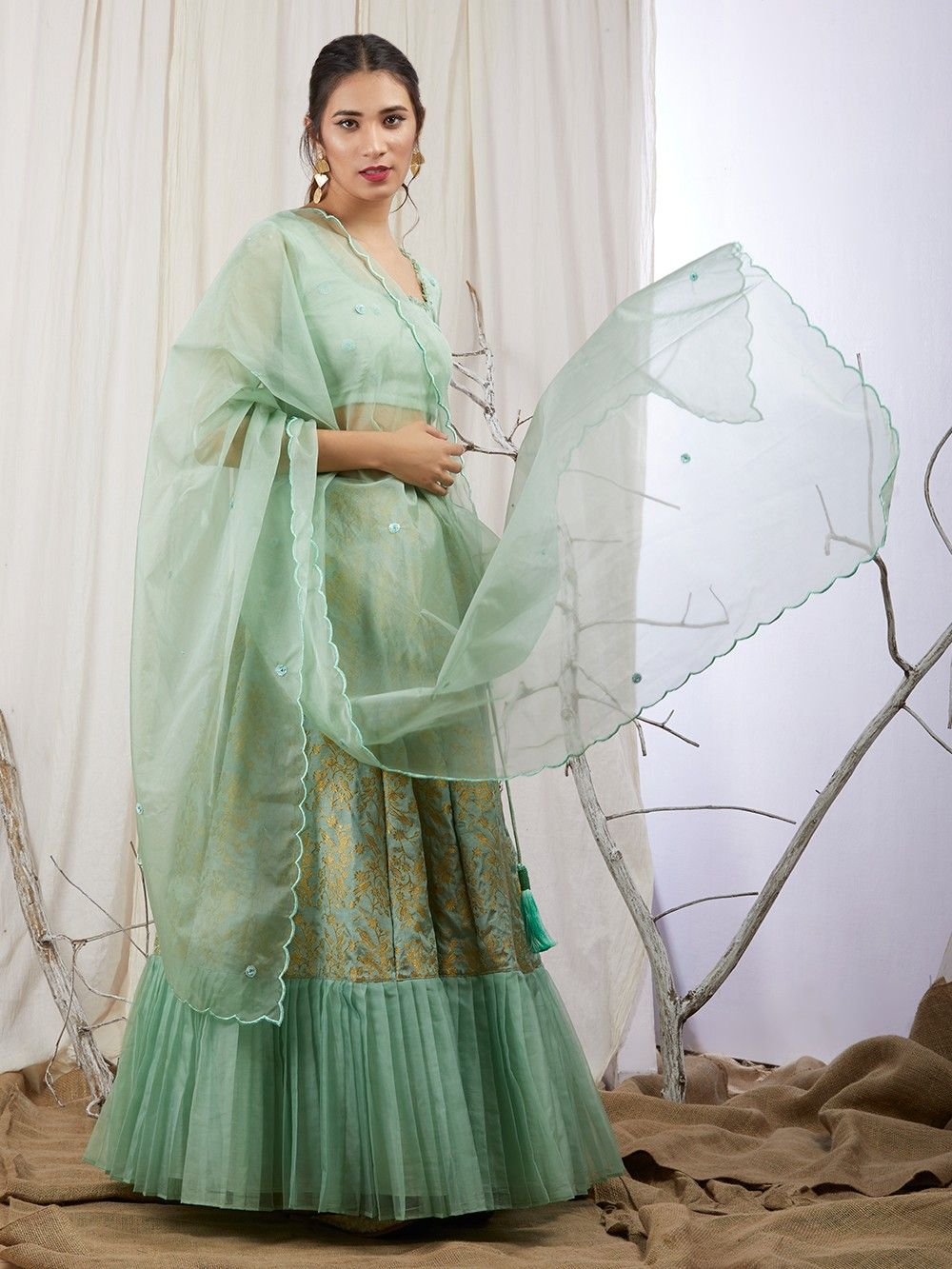 8b2a372794 Green Organza Hand Embroidered Blouse with Brocade Silk Lehenga and Dupatta  - Set of 3. Hover to zoom