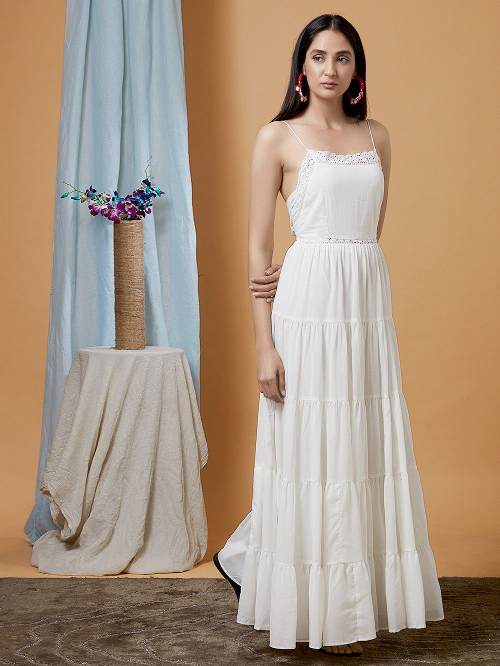 101f4b4a13f Buy White Georgette Flared Maxi Dress online at Theloom