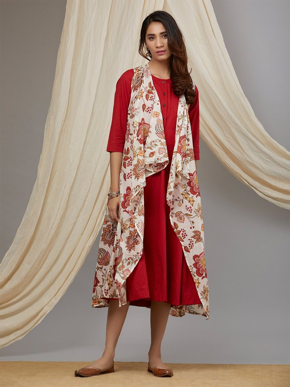 Red White Floral Printed Cotton Mulmul Dress with Jacket - Set of 2. Hover  to zoom 11d3ae60b