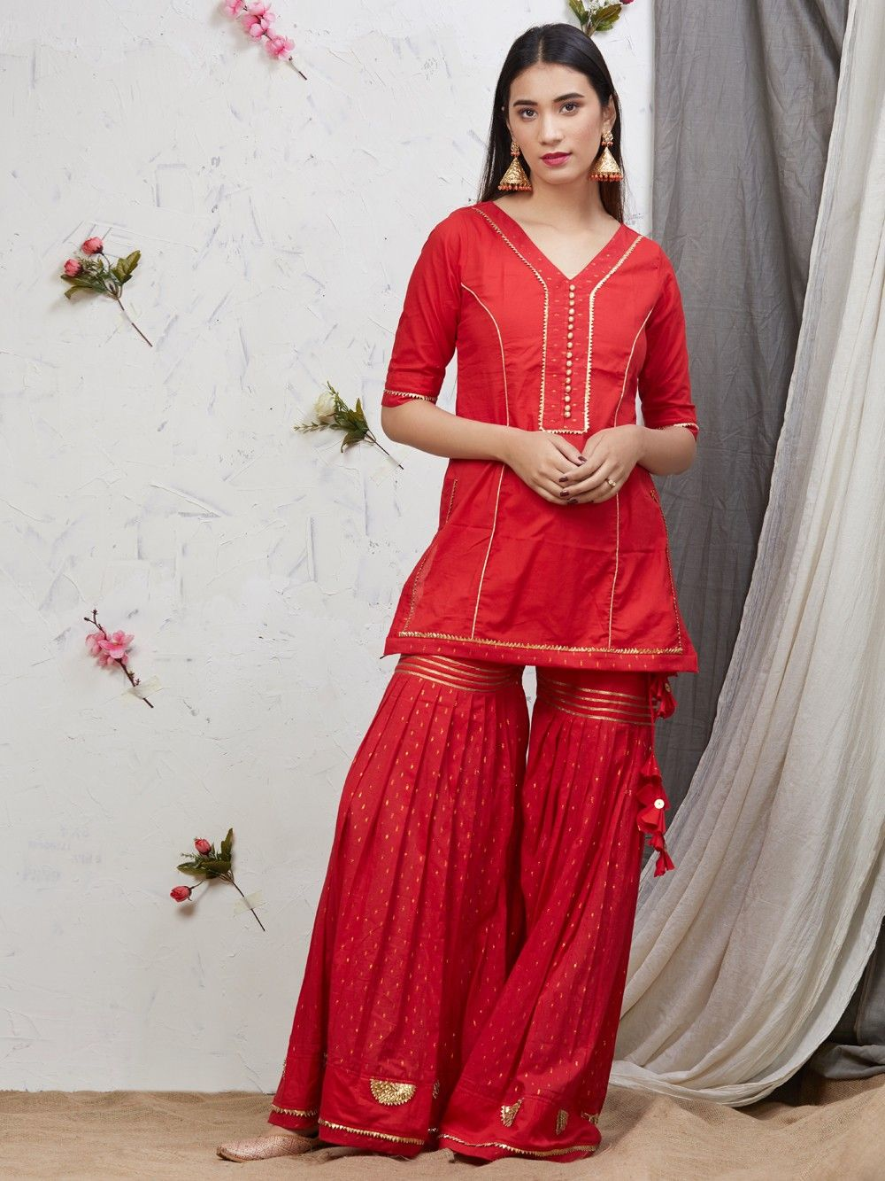Buy Red Gota Embroidered Cotton Garara Suit Set Of 3
