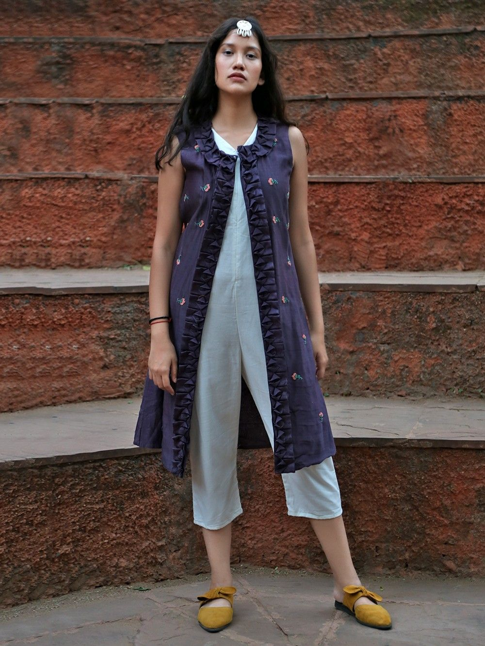 fd98457e9e04 Buy White Cotton Crepe Jumpsuit with Purple Silk Embroidered Jacket ...