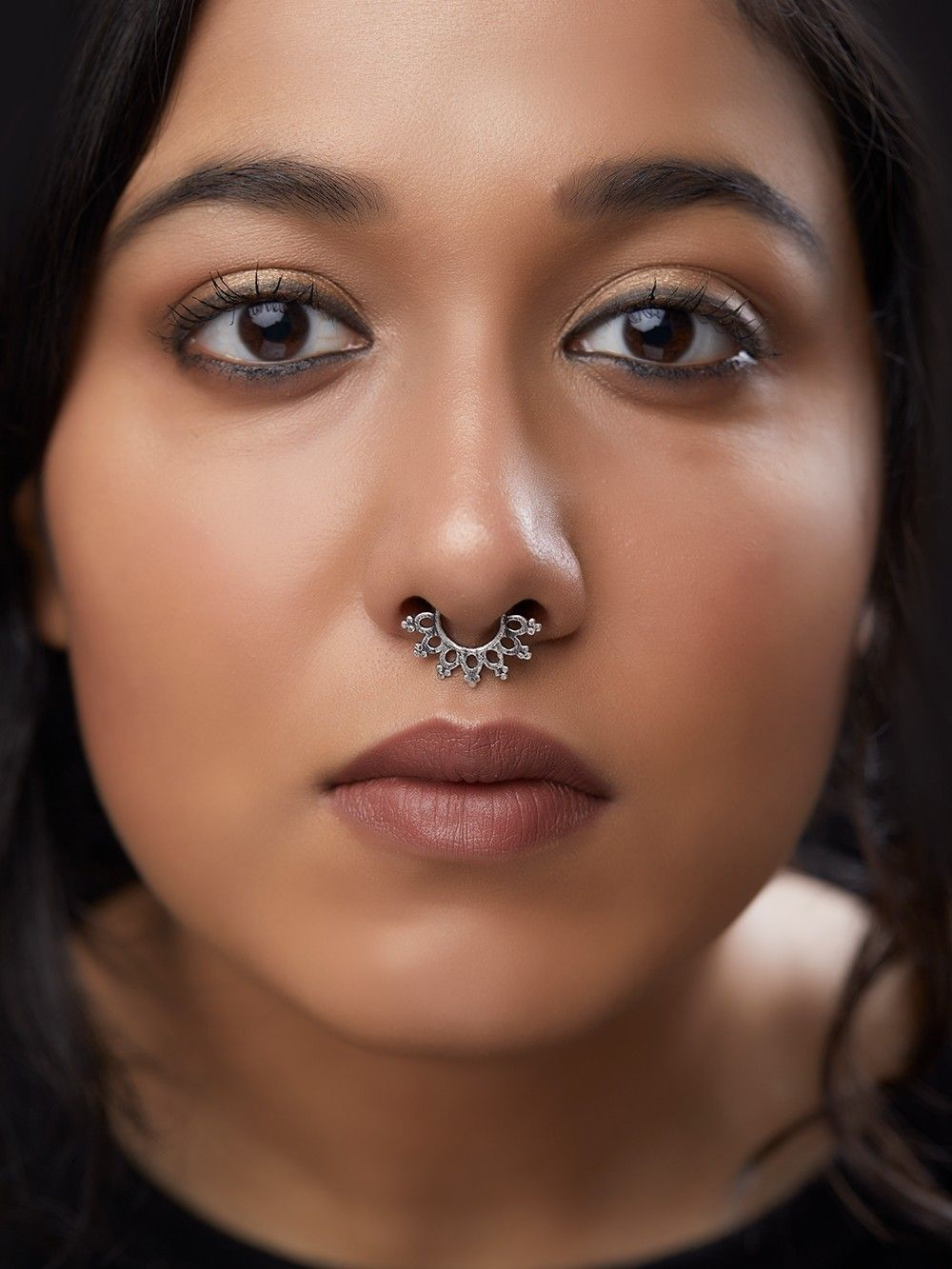 Buy Silver Toned Handcrafted Brass Septum Nose Ring Online At Theloom