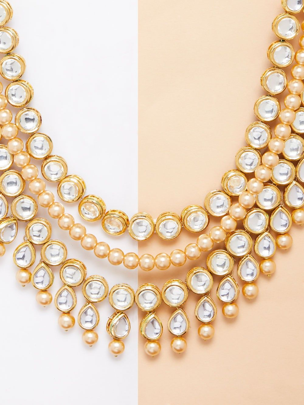 e5e1ea868bd Buy Pearl Gold Plated Kundan Necklace online at Theloom