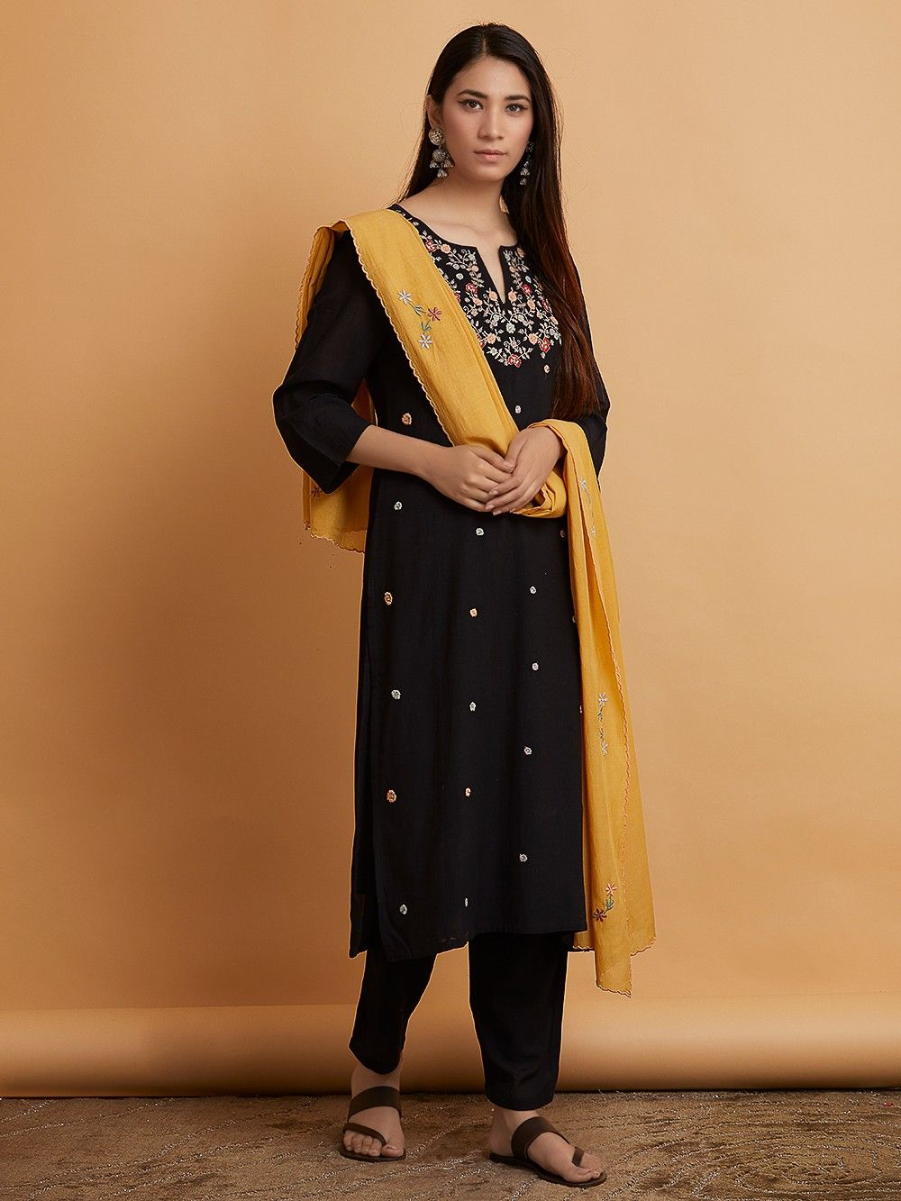 f4cee562eb Black Embroidered Cotton Viscose Kurta with Pants and Mustard Yellow Silk  Dupatta - Set of 3. Hover to zoom
