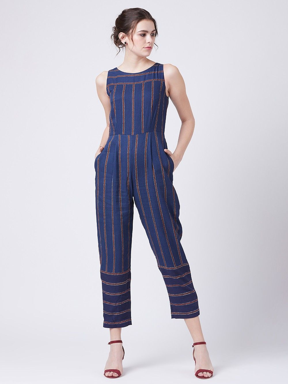 wholesale best place preview of Buy Navy Blue Striped Rayon Jumpsuit online at Theloom