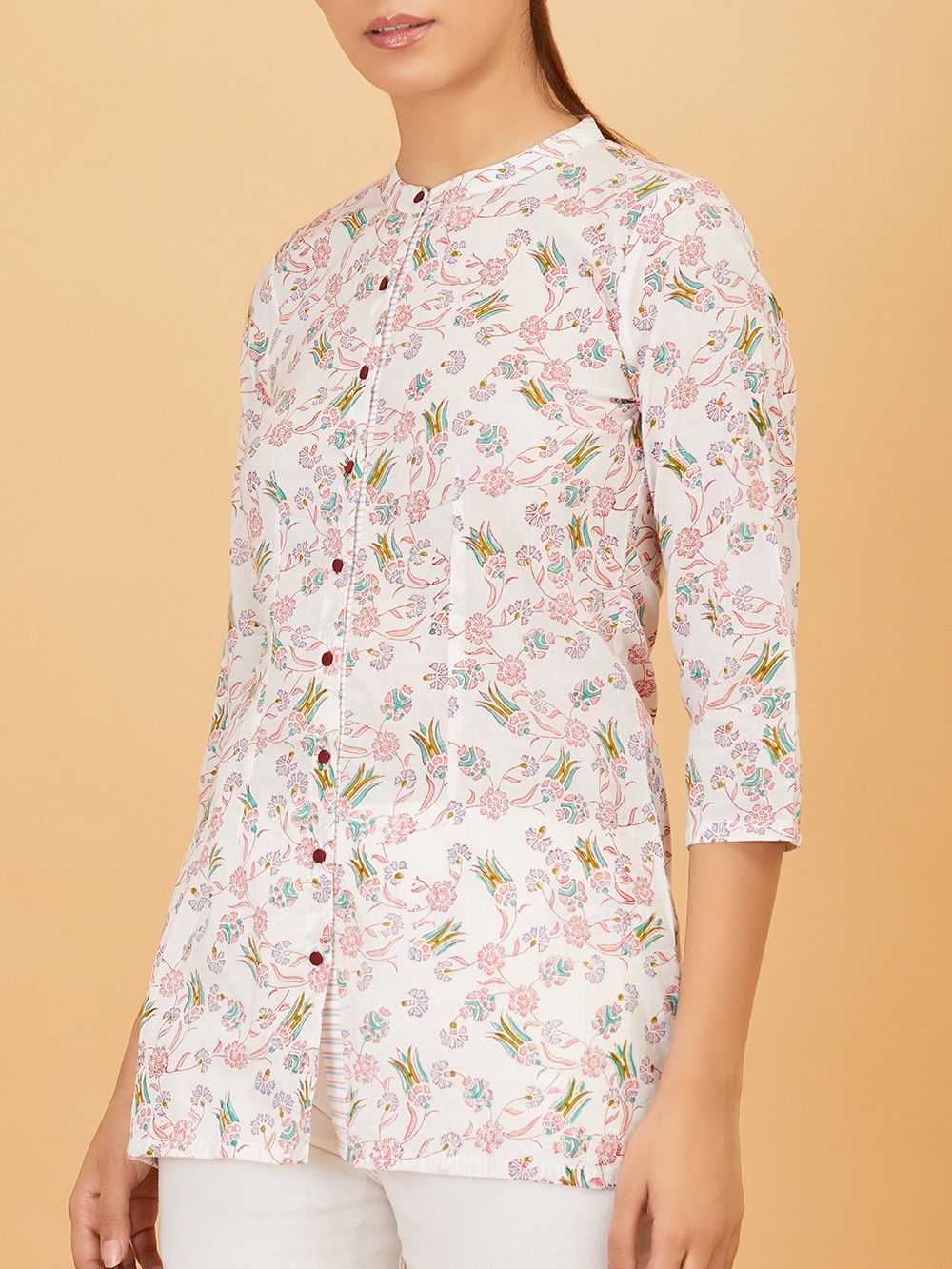 e8a6e419de Buy White Floral Hand Block Printed Cotton Shirt online at Theloom