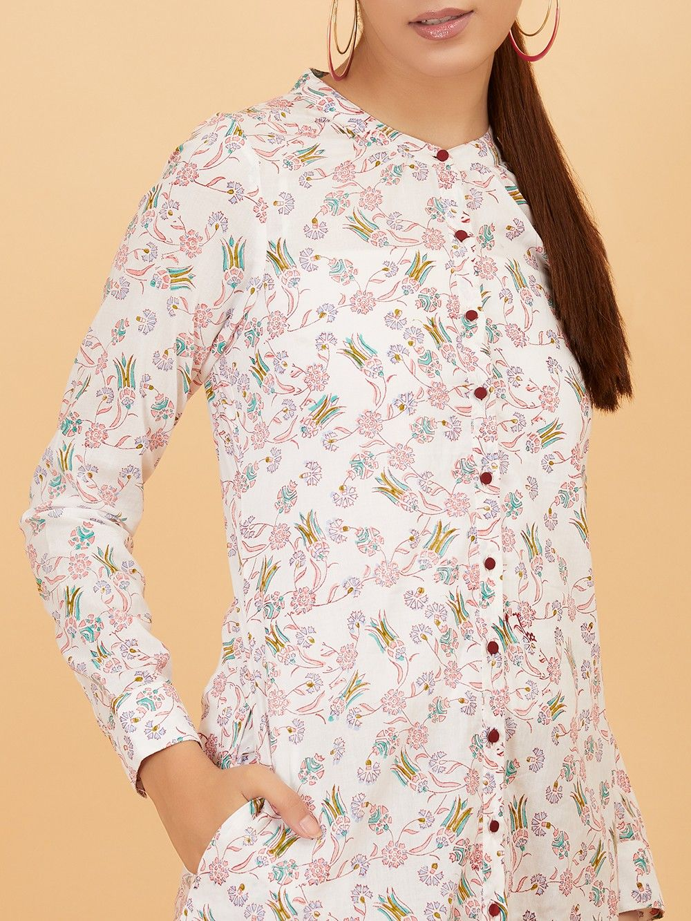 a962c66e8ced6 Buy White Floral Hand Block Printed Cotton Dress online at Theloom