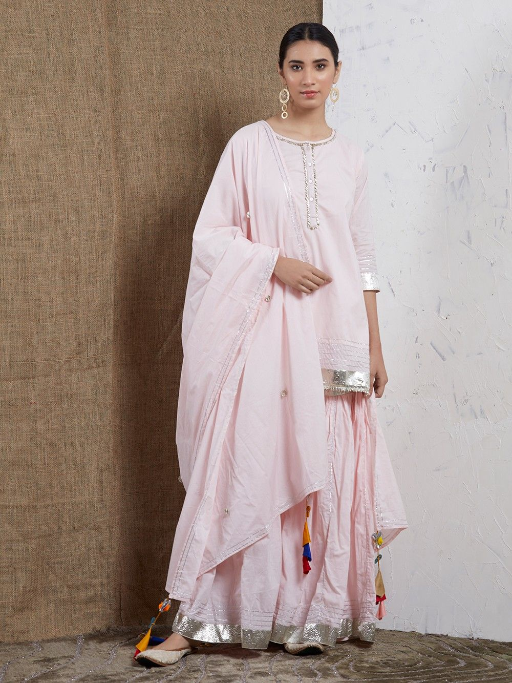 773e2d0bf2 Buy Pink Cotton Gota Sharara Suit - Set of 3 online at Theloom