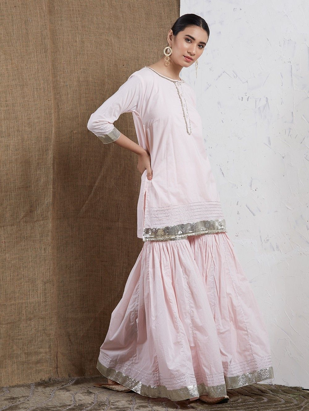 9d5562d5d5 Buy Pink Cotton Gota Sharara Suit - Set of 3 online at Theloom