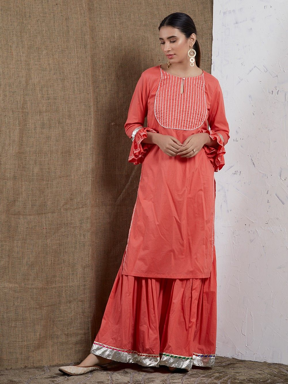 3f289a9bd9 Buy Peach Cotton Gota Sharara Suit - Set of 3 online at Theloom