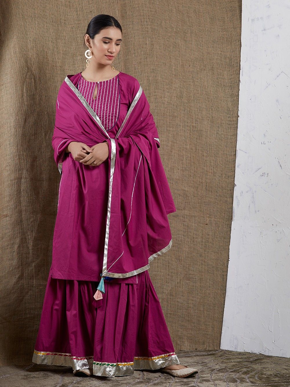 63d74657a1 Buy Magenta Cotton Gota Sharara Suit - Set of 3 online at Theloom