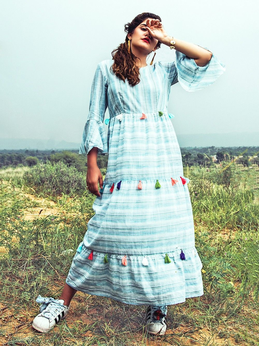 04825ff59252 Buy Blue Striped Cotton Flared Maxi Dress online at Theloom