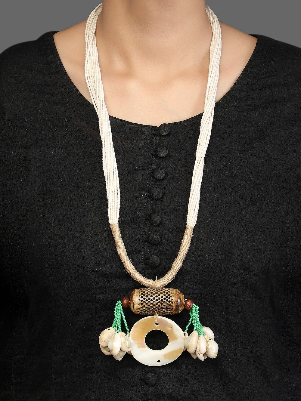 Buy White Handcrafted Fabric Necklace Gdj 1205661 Gdj2 The Loom
