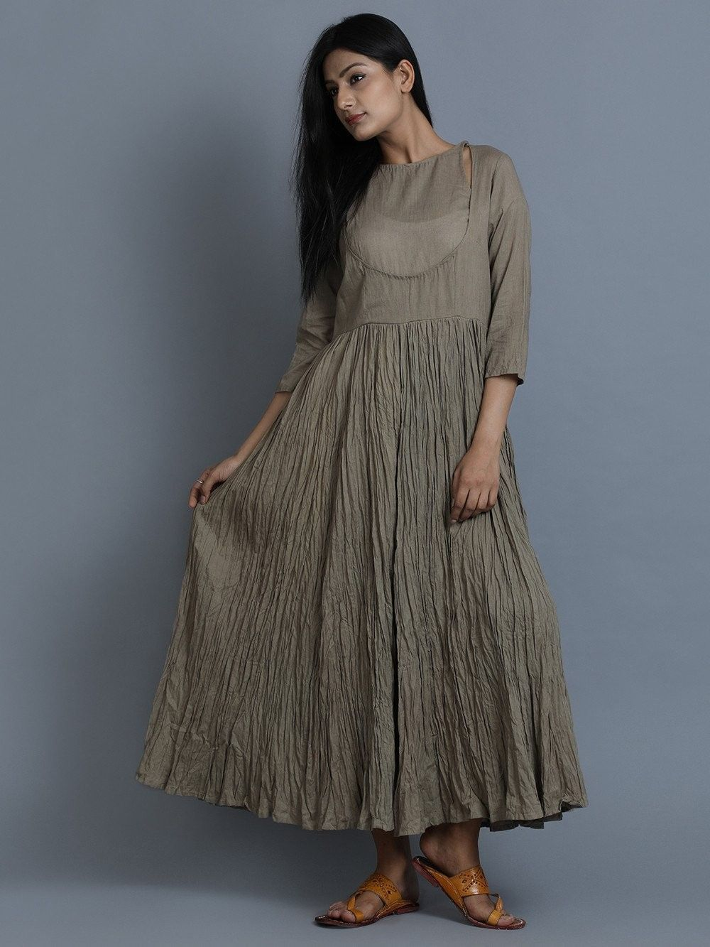 18ed61da13 Buy Grey Cotton Maxi Dress online at Theloom