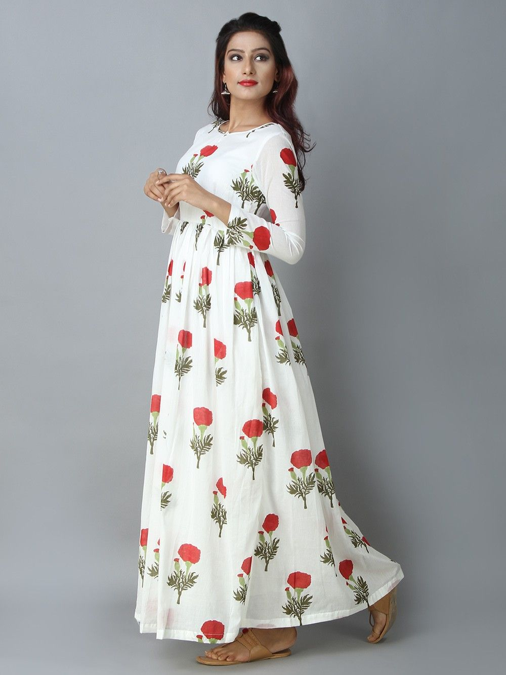 2088d1f91e5 Buy Red Off White Mulmul Mogra Maxi Dress online at Theloom