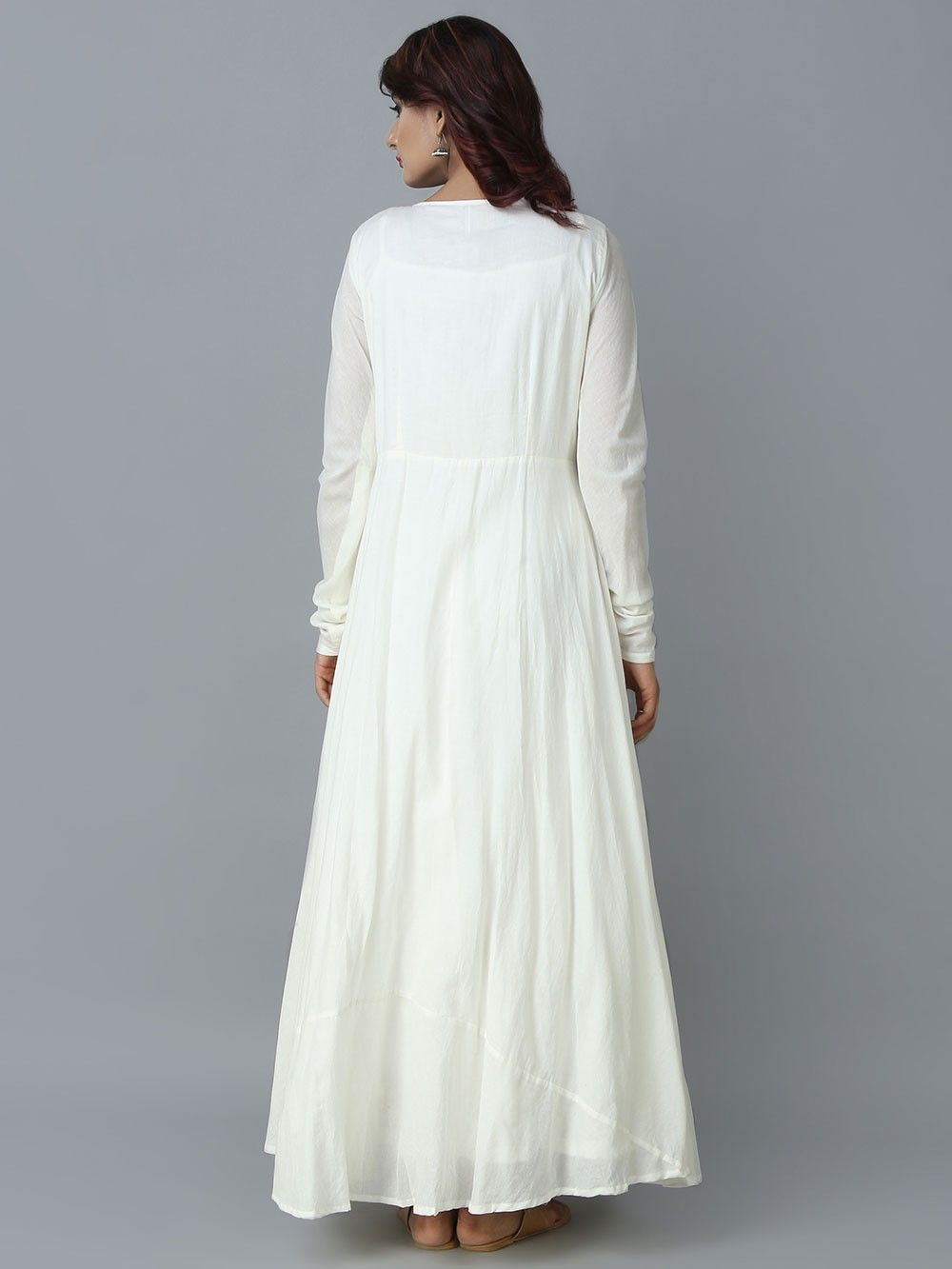 Buy White Cotton Long Angrakha Dress Online At Theloom