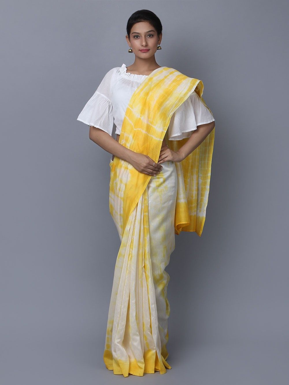 b9a1c86dccb053 Buy Yellow Off White Tie and Dye Chanderi Silk Saree online at Theloom
