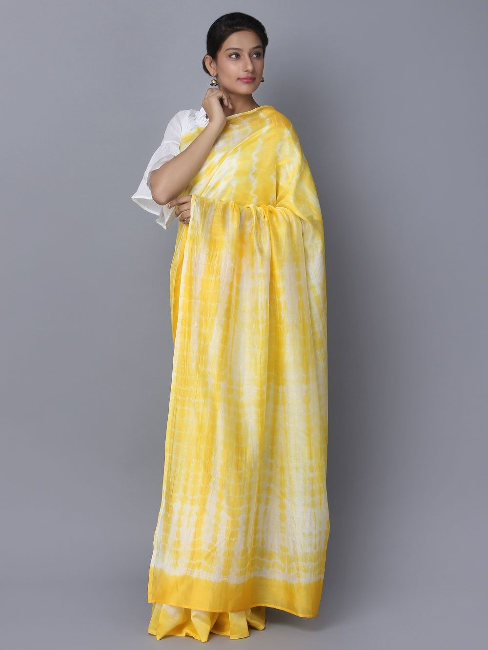 497f9ceef3ae Buy Yellow Off White Tie and Dye Chanderi Silk Saree online at Theloom