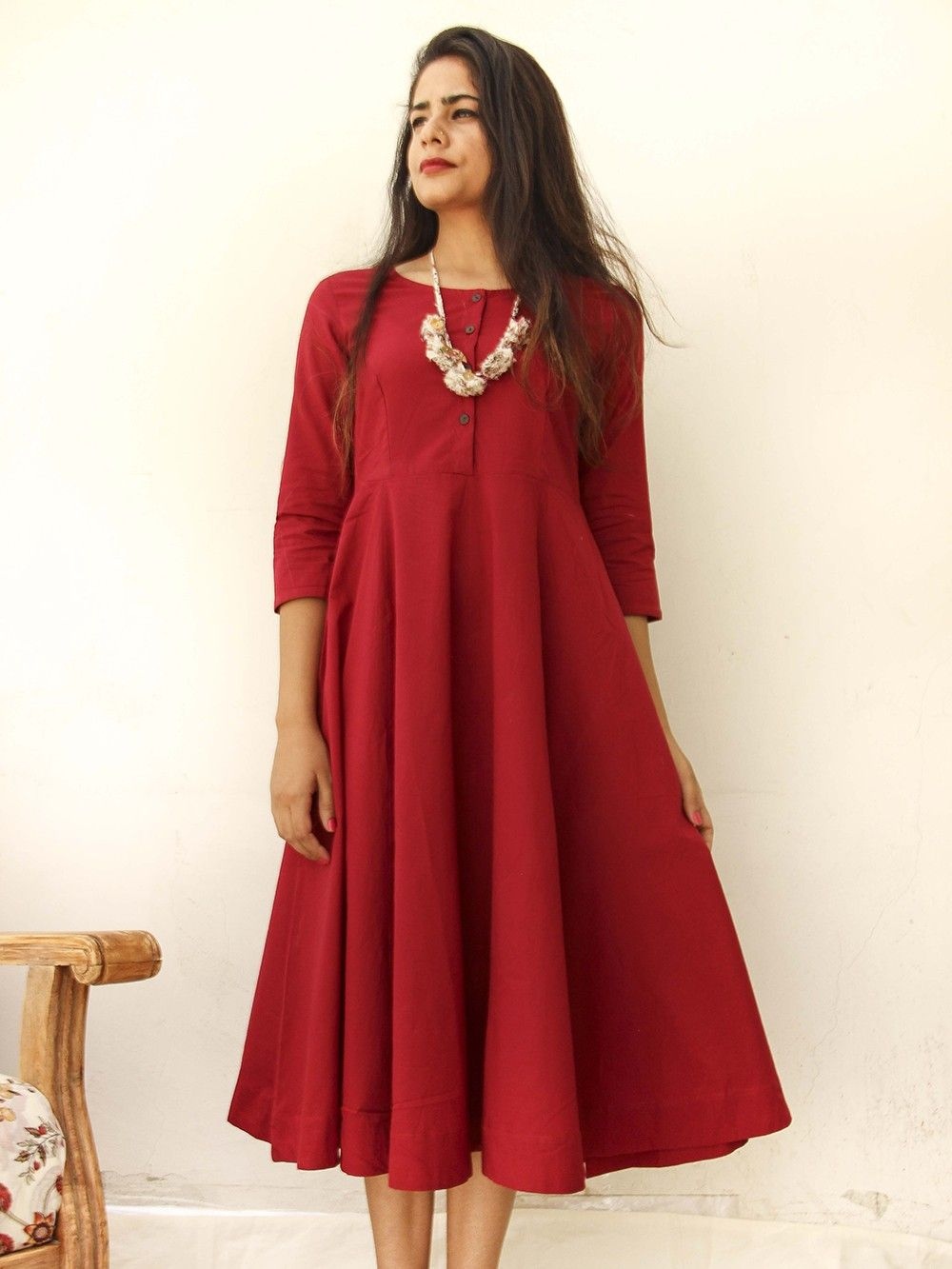 9a4d87838147 Buy Maroon Cotton Midi Dress with Neck Piece - Set of 2 online at ...