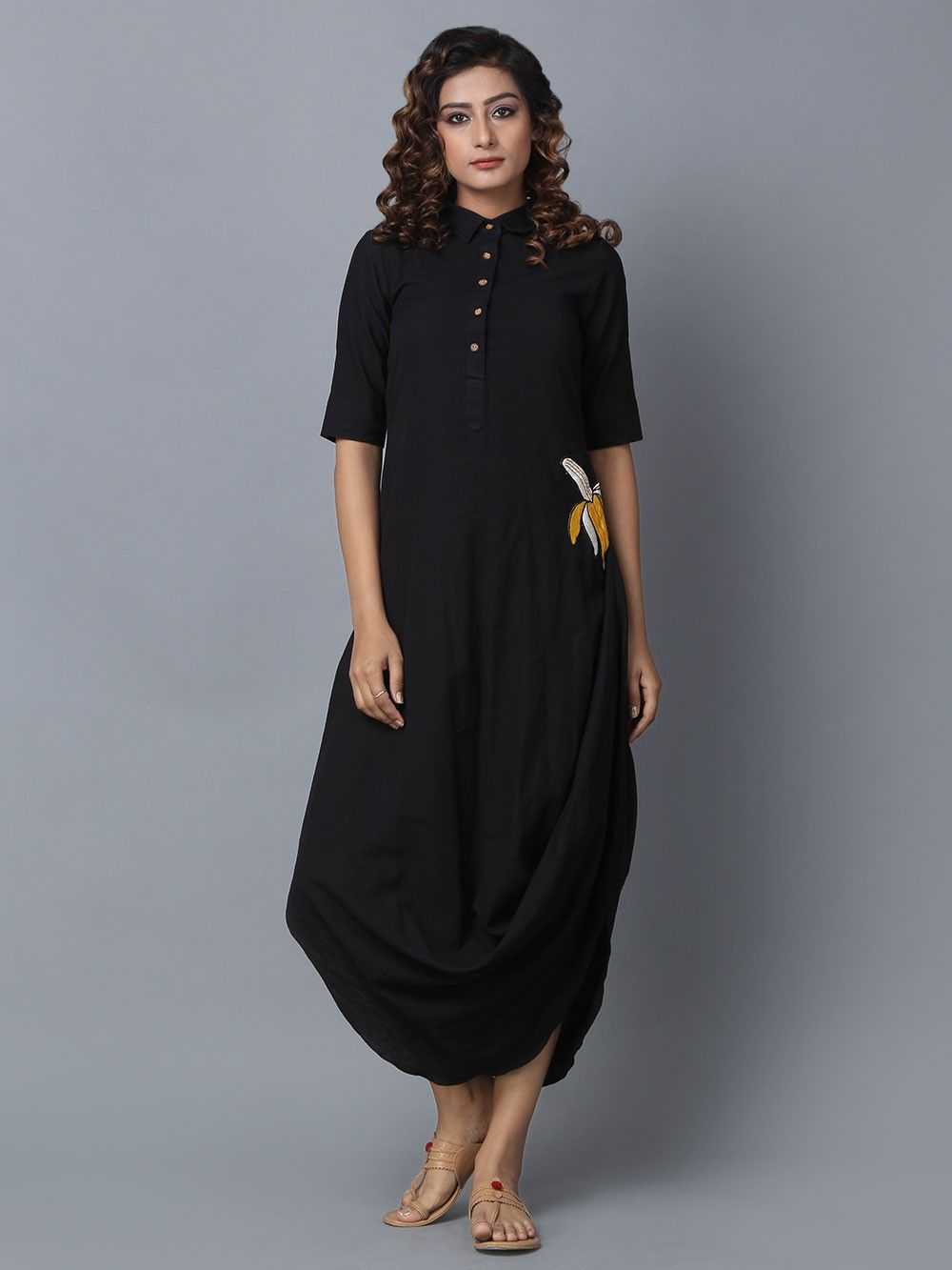d97eb053e9c Buy Black Cotton Linen Drape Dress online at Theloom