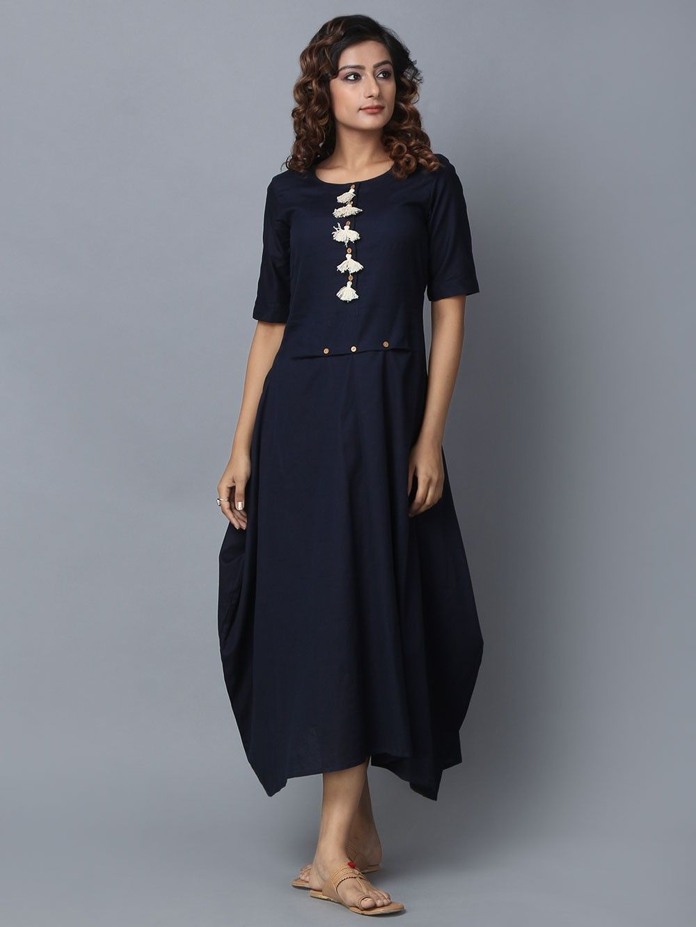 6cce4181ae5 Buy Blue Cotton Linen Dress online at Theloom