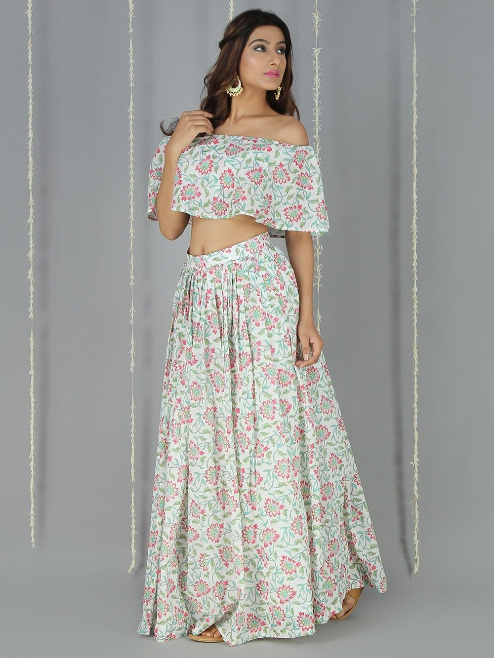 5ac1799869 Red Green Off White Mulmul Off Shoulder Crop Top with Skirt - Set of 2