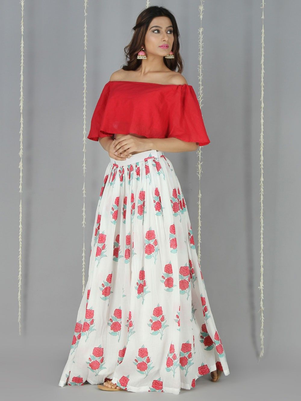 810125d73 Red White Mulmul Off Shoulder Crop Top with Skirt - Set of 2. Hover to zoom
