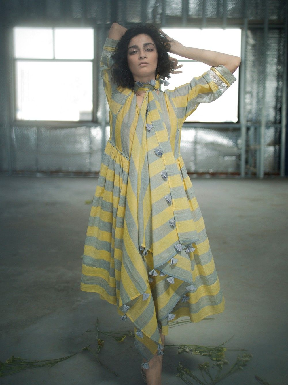 3ece313f19d Yellow Grey Striped Muslin Khadi Shirt Dress with Slip - Set of 2. Hover to  zoom