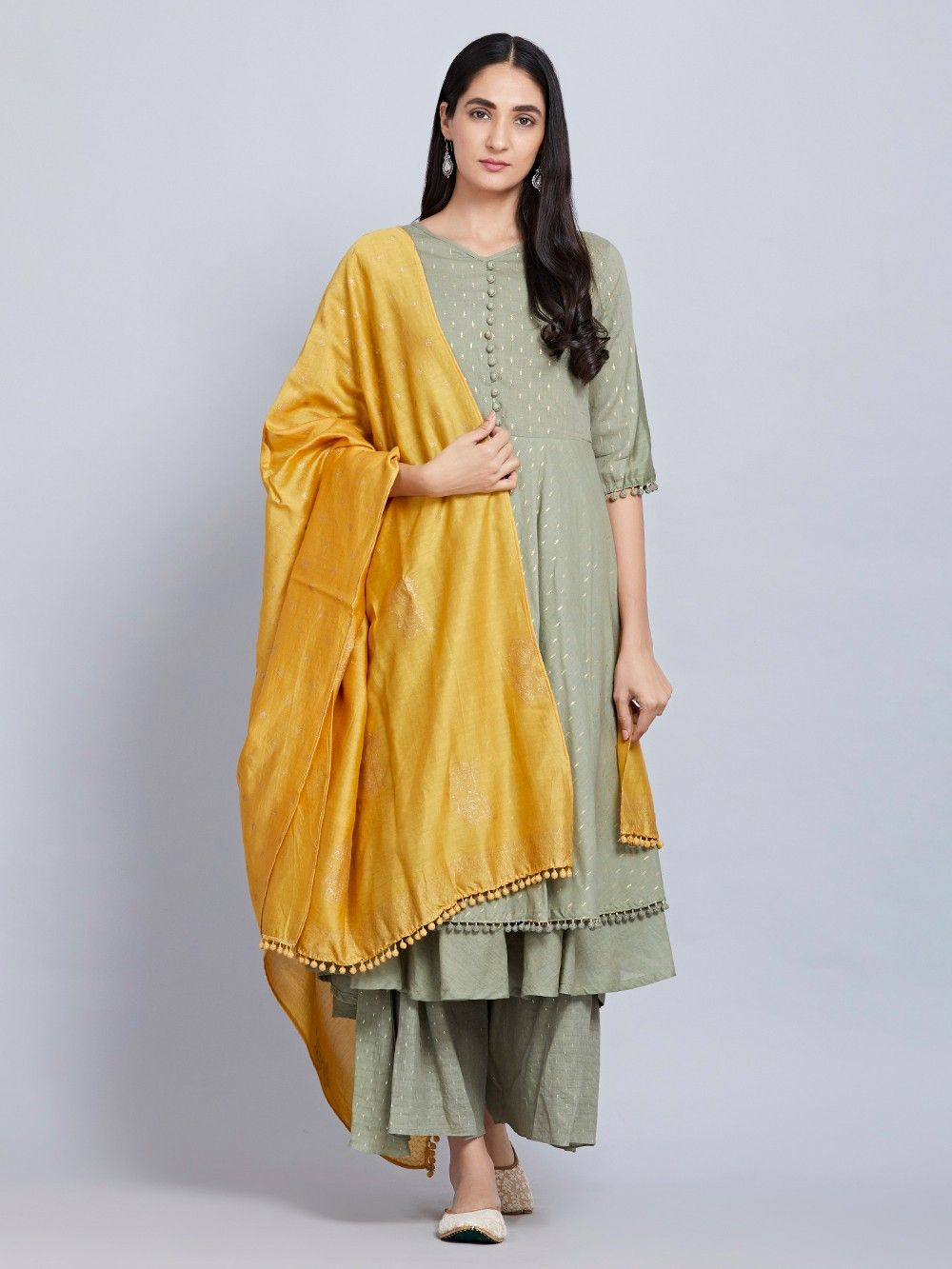 buy olive green cotton kurta with palazzo and yellow hand block