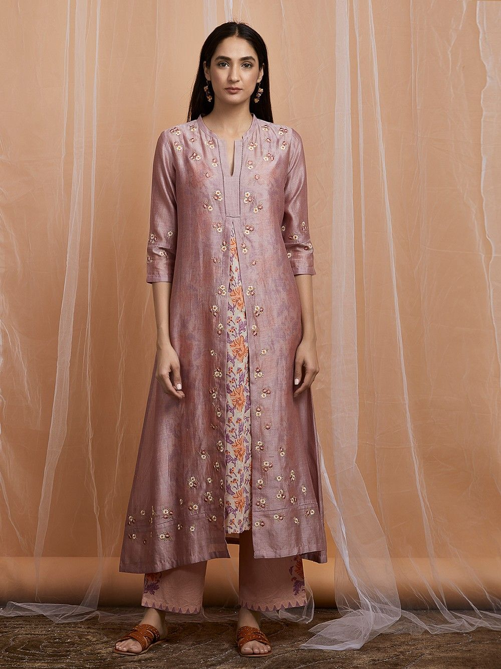 aa1a0a1cd1 Buy Onion Pink Thread Embroidered Chanderi Kurta with Cotton Hand ...